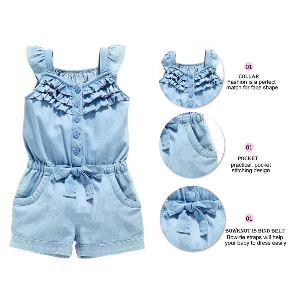 Newborn Baby Girls Denim Romper Straps overalls JUmpsuit Summer Clothes Outfits