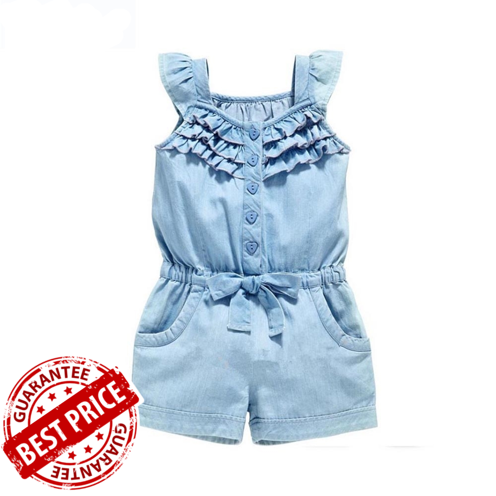 Baby Girl Clothes Clothing Rompers Denim Blue Cotton Washed Jeans ... 579d1bddf6a8