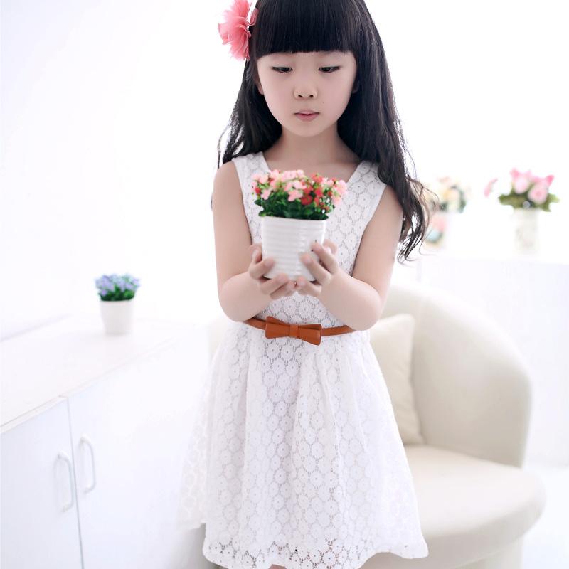 summer lace vest girls dress baby girl princess dress 2 8 years