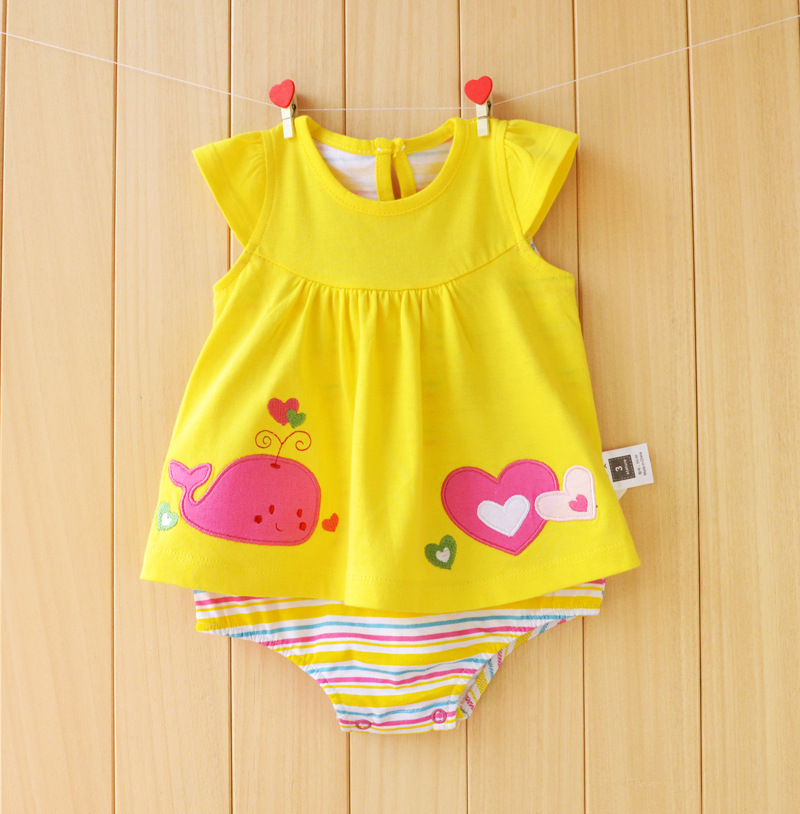 Baby Girl Rompers Summer Girls Clothing Sets Roupas Bebes Flower ... 67ea58e1ddfc