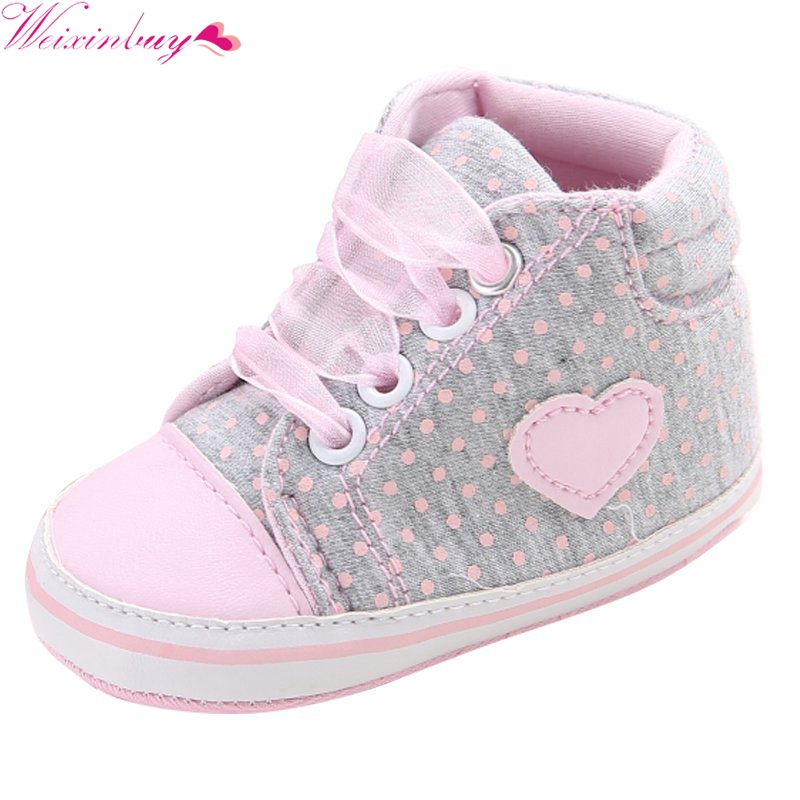 Classic Casual Baby Shoes Newborn Polka Dots Baby Girls Autumn Lace